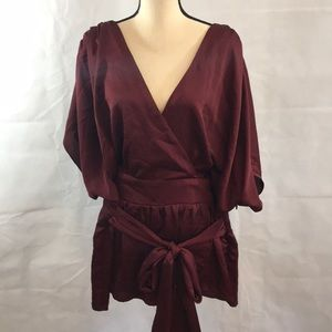 NEW City Chic Wrap Top Size XXL/24 Burgundy color